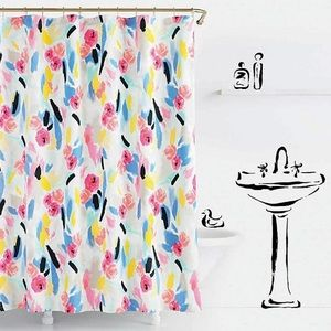 KATE SPADE SHOWER CURTAIN FLORAL COTTON